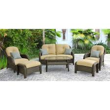 Home Depot Design Your Own Patio Furniture by Hanover Newport 6 Piece Patio Lounge Set With Cream Cushions