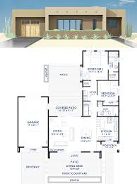 contemporary adobe style house plan adobe open concept and car