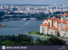 riverfront apartments on the geylang river singapore stock photo