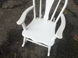 Wooden Rocking Chair Kids White Painted Kids Wooden Rocking Chair Attainable Vintage