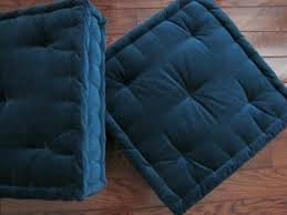 velvet seat cushion blue tufted cushion with french mattress