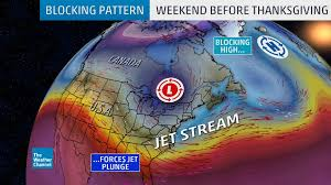 weather for thanksgiving greenland block pattern to bring cold and snow to parts of the