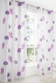 Purple Floral Curtains Purple Lilac Large Poppy Flower Linen Look Lined Voile Curtain