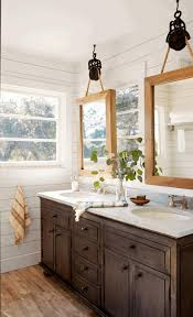 Bathroom Frameless Mirrors French Country Style Bathrooms Uneven Rock Wall Tile Decorative