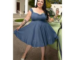 blue grey dress etsy