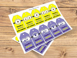 minion gift bags diy printable minions eye thank you tags minion goody bag tags