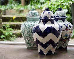 ceramic ginger jar lidded urn mint