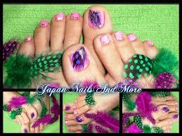 feathers toe nail art design youtube