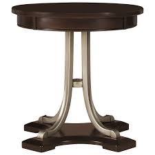 Wood Round End Table City Furniture Canyon Mid Tone Wood Round End Table