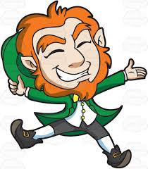 a delighted leprechaun jumps for joy cartoon clipart vector toons