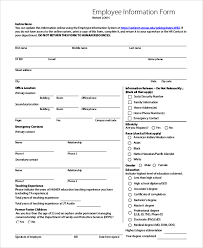 sample employee information form 10 examples in pdf word