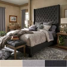 High Headboard Bed Naples Wingback Button Tufted 84 Inch High Headboard Platform Bed
