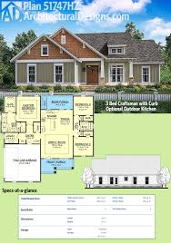 Architectural Designs House Plans by Plan 51747hz 3 Bed Craftsman With Optional Outdoor Kitchen