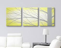 Yellow And Grey Home Decor Yellow Wall Art Etsy