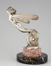 french art deco car mascot hood ornament silvered bronze winged