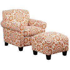 orange white fabric arm chair with floral pattern combined with