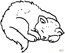sleeping cat coloring page kids drawing and coloring pages