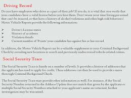 Driving Background Check The Source Personnel Information Service Employment Screening