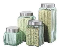 oggi kitchen canisters amazon com oggi ribbed glass 4 canister set clear kitchen