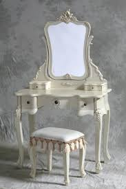 White French Bedroom Furniture Broken White Dressing Table With Mirror And Classy Wooden Stool