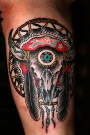 traditional native american bull skull tattoo on leg calf