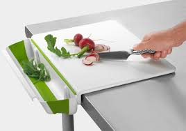 stainless steel cutting board table cutting board with collapsable bin moma store cool stuff to buy