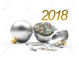 new year dollar bill 2018 new year s financial concept whole and broken silver