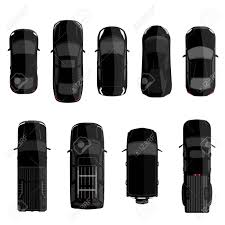 small cars black vector illustration big set collection black cars top view