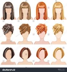 set vector hairstyles individual hairstyles vector stock vector