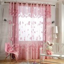 Pink Curtains For Girls Room Pink Sheer Curtains Leaf Pattern For Girls Room