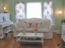 Shabby Chic Floral Curtains by Floral Curtain And Sage Green Wall Color For Shabby Chic Cottage