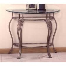 Half Moon Table Hillsdale Bordeaux Half Moon Glass Console Table In Bronze Pewter