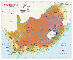 africa map map south africa physical educational wall map mapstudio