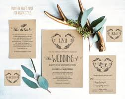 wedding invitations etsy rustic wedding invitation etsy