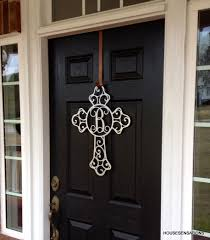 metal cross front door wreaths monogram door hanger initial