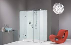 very simple interior for bathroom with white glass shower room