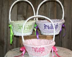 personalized wicker easter baskets white easter baskets etsy