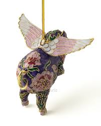 cloisonne flying pig ornament