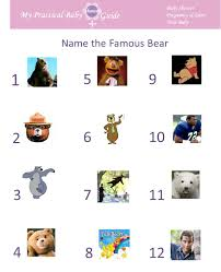 free printable name the famous bear baby shower game visit