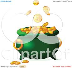 cartoon of gold st patricks day shamrock coins falling into a