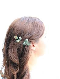 hair slides leaf bobby pins leaves branch patina verdigris green woodland
