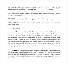 sample catering contract pdf template free download catering