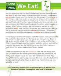 plants we eat worksheet education com