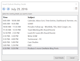 using the meeting details button in onenote to connect to outlook