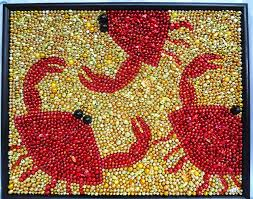 New Orleans Kitchen by Framed Mardi Gras Bead Seafood Crabs Mosaic Red Gold 16 X 20