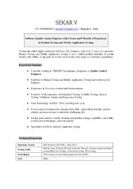 Manual Tester Resume 81 Manual Testing Resume Sample For Experience Qa Tester