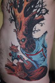 rocket raccoon and groot tattoo complete by turtle31b on deviantart
