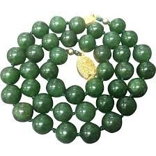 jade bead necklace images Vintage green nephrite jade beaded hand knotted with filigree gold jpg