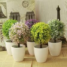 2018 artificial topiary tree plants in pot colorful