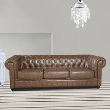 Faux Chesterfield Sofa Chesterfield Faux Leather Sofas You U0027ll Love Wayfair